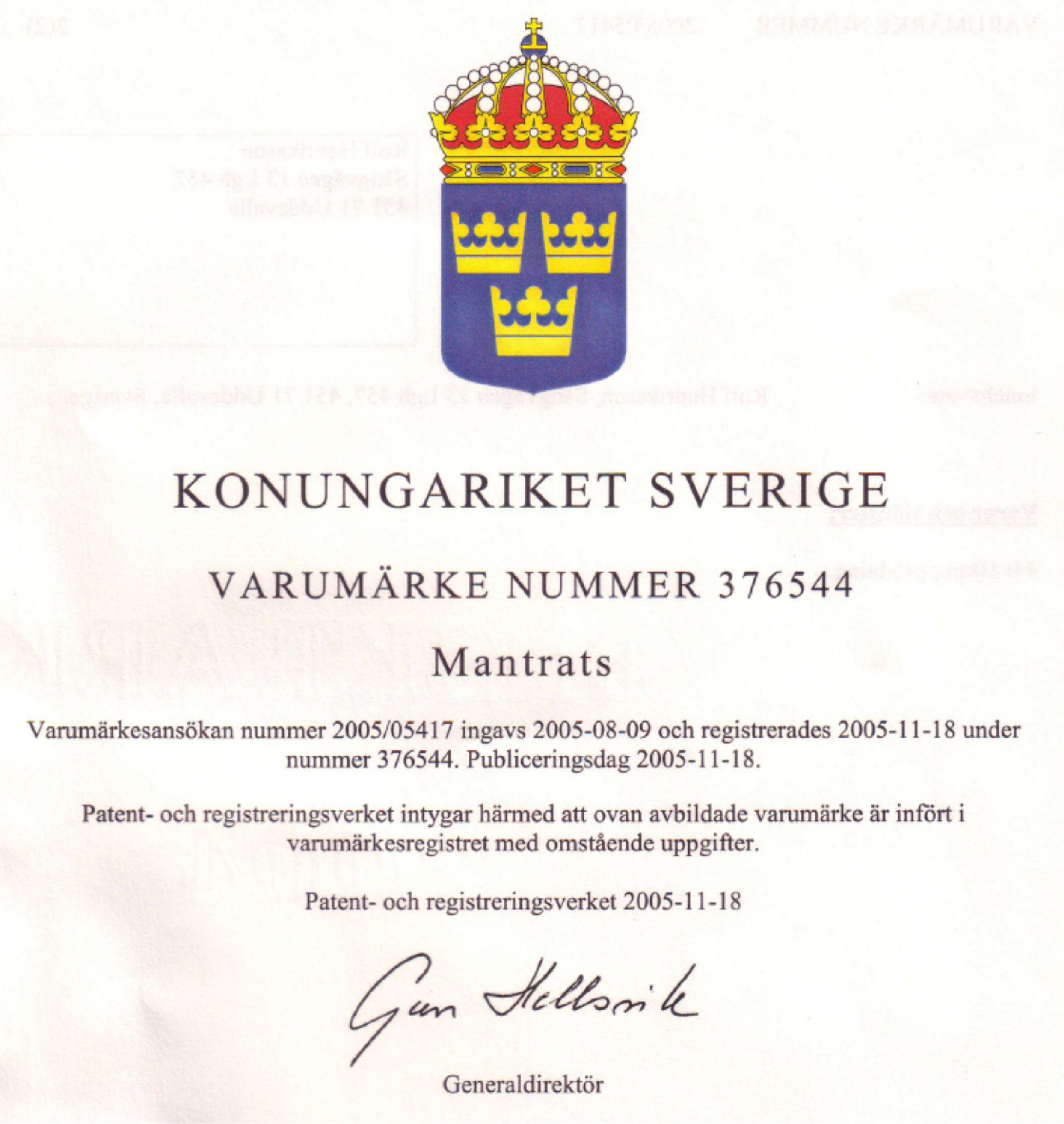 """Dokumentet som visar att stamnamnet """"Mantrats"""" är ett registrerat varumärke. Undertecknat av Gun Helsvik"""